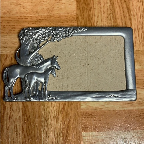 🐎 Beautiful Pewter Horse & Foal Frame - See desc.